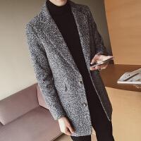 秋冬季新款风衣韩版男士毛呢大衣男装中长款风衣休闲呢子外套男潮