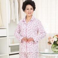 春秋中老年人睡衣女士纯棉长袖大码奶奶老人中年妈妈全棉套装