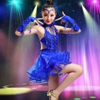 儿童拉丁舞演出服装夏女童裙子少儿练功服女孩舞蹈演出服比赛亮片