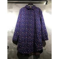 B5棉翻领碎花修身显瘦加厚加绒衬衫宽松秋季长袖短款女士上衣0.35