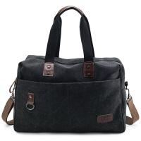 七夕礼物新款手提旅行包大容量短途出差行李包复古帆布包男电脑包商务包 黑色 中