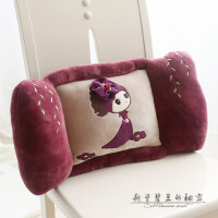 可爱办公室靠垫卡通腰枕汽车椅子孕妇护腰靠枕床上抱枕座椅靠背垫 紫色蓓蕾菲儿靠垫 57*30*13CM