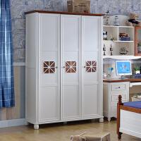 尚满 儿童衣柜 地中海板木三门衣柜儿童卧室家具衣橱 中式简约现代三门储物柜 三门衣柜