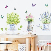 餐厅沙发背景墙壁面上创意装饰可移除贴画浪漫温馨卧室花盆墙贴