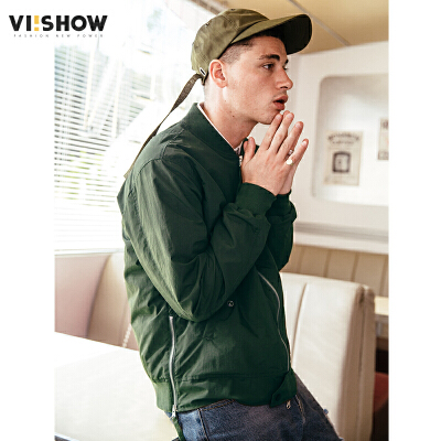 VIISHOW2018春季新款夹克军绿男士宽松外套青年帅气棒球服学生装