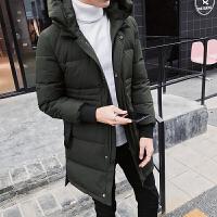 羽绒服男正品款小清新韩版中长款冬季连帽保暖外套 军绿色 M