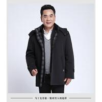 中老年男装棉衣加厚外套老年棉袄男冬季大码爸爸装可拆卸内胆 黑色