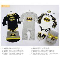春夏创意男宝宝百天礼盒周岁礼盒连体爬服套装礼物婴儿礼盒 蝙蝠侠春夏款