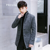 秋冬新款毛呢大衣男韩版潮流中长款修身风衣青年时尚男士毛呢外套