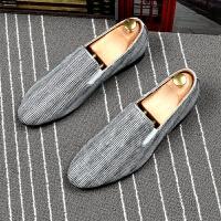 夏季浅白色皮鞋男尖头青年百搭时尚潮流男鞋单套脚透气发型师潮鞋