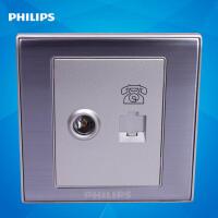 飞利浦墙壁插座面板86型金属系列Q8 801TV-4TU电视+电话插座