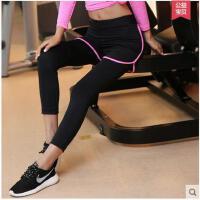 韩版大方百搭撞色透气显瘦跑步假运动裤女瑜伽服紧身弹力大码九分裤
