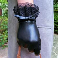 时尚蕾丝薄款羊皮手套新款真皮手套女士加绒保暖可爱触屏 可礼品卡支付