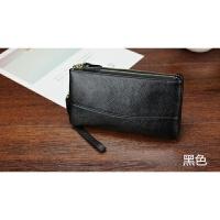 七夕礼物2018新款韩版钱包女士长款双拉链手拿包多功能大容量零钱包手机包 黑色
