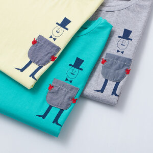 【尾品汇 5折直降】amii童装2017夏季男童中大童圆领T恤儿童简约套头卡通短袖