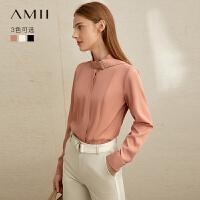 【到手价:130元】Amii极简chic风职业时尚通勤衬衫2019冬季新款领带暗门襟显瘦上衣
