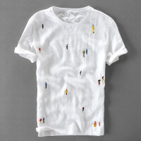 男装夏季亚麻短袖t恤男士刺绣圆领修身棉麻白色韩版时尚潮流体恤