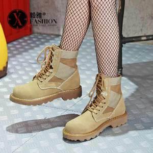 【满200减100】【毅雅】战狼2同款鞋马丁靴女夏英伦风短靴学生复古军靴机车靴沙漠靴秋季