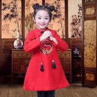 儿童表演服中国风裙子亲子装童装新款冬款女童旗袍拜年服唐装厚款 红色