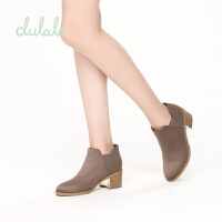 【限时2件2折】shoebox鞋柜冬款杜拉拉时尚粗跟绒面切尔西靴休闲短靴女=