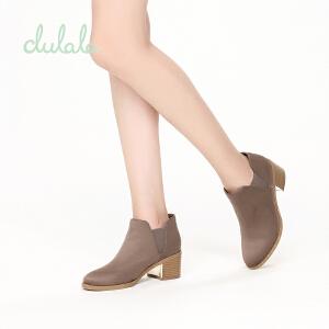 【达芙妮集团】鞋柜 冬款杜拉拉时尚粗跟绒面切尔西靴休闲短靴女