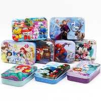 60片迪士尼拼图铁盒幼儿园儿童益智男孩女孩木质3-4-6岁冰雪奇缘