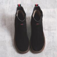 短靴女秋冬2017新款牛皮马丁靴女英伦风切尔西靴粗跟靴子女淘