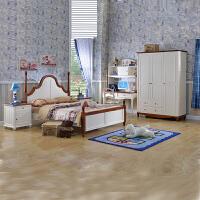 尚满 青少年儿童卧室家具套房 地中海单双人简易床 床头柜 书桌 书架 三门衣柜五件套 5件套 1.2X1.9米
