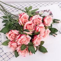 假玫瑰花束仿真花假花客厅装饰品桌花摆件花瓶插花轻奢绢花艺套装