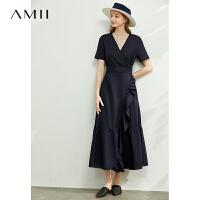 Amii极简法式V领荷叶边雨露棉麻连衣裙2021夏新款收腰显瘦裙子女