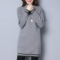大款毛衣女套头秋冬新款中长款羊绒衫宽松加厚保暖针织羊毛打底衫