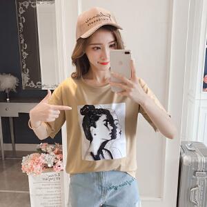 RANJU 然聚2018女装夏季新品新款短袖t恤女夏装宽松显瘦韩版学生体恤上衣