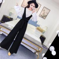 201春下装8新款韩版名媛成熟气质时尚黑色弹力阔腿系带背带连体裤