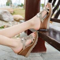 户外时尚水钻坡跟凉拖鞋女外穿百搭韩版厚底增高女鞋