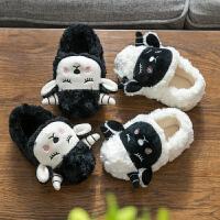 儿童棉拖鞋包跟秋冬季女童男宝宝1-3岁2卡通毛毛棉鞋