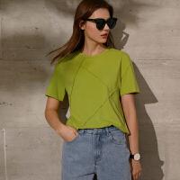 Amii极简洋气圆领短袖T恤女2021春季新款几何压褶宽松百搭上衣