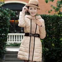 冰洁韩版淑女修身显瘦连帽女式中长款羽绒服外套J1201086
