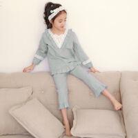 儿童睡衣女童长袖纯棉花边中大童春秋款公主小女孩韩版家居服套装