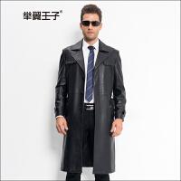举翼王子男士长款真皮风衣海宁时尚修身单款西装翻领皮衣加长款休闲绵羊皮外套