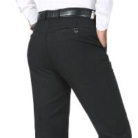 中年男士宽松休闲裤男秋冬厚款爸爸裤子40-70岁中老年直筒长裤子 黑灰色