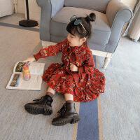 童装女童冬装韩版新款加绒碎花连衣裙宝宝秋冬加厚雪纺长裙子