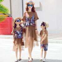 亲子装夏装一家三口母女装连衣裙母子休闲春装套装全家装