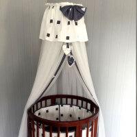 婴儿床蚊帐落地支架加密通用宫廷蚊帐开门式儿童蚊帐罩宝宝蚊帐 西班牙几何 灰白
