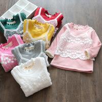 2018春装女童蕾丝假加绒打底衫儿童宝宝木耳边半高领T恤绒衫