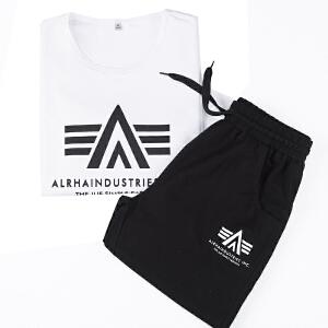 男士运动套装夏季新款薄休闲运动服套装男跑步服两件套短袖短裤