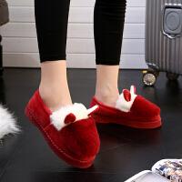 韩版厚底保暖包跟棉拖鞋女士冬季家居家室内月子棉鞋防滑可爱拼色