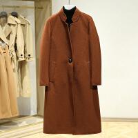 双面呢大衣女中长款2017冬装新款 韩版立领一粒扣百搭呢子外套