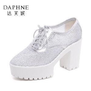 Daphne/达芙妮女鞋春季高跟鞋 粗跟防水台网布透气单鞋