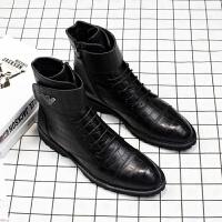 春季新款英伦尖头商务休闲中筒短靴子高帮皮鞋男士马丁靴内增高潮