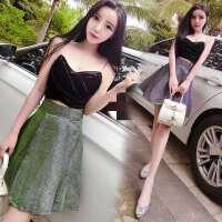 夜店女装夏泰国潮牌性感时尚吊带上衣渐变色蓬蓬短裙两件套装